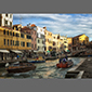 image of reflections of boats in canals, Burano, italy