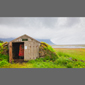 image of sod house and antique car, Iceland