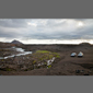 image of river, cars and lava, Iceland