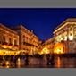 image of central sqaure of Ortigia, Siracusa, Sicily, at night, Christmas