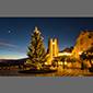 image of square in Taormina, Sicily, Italy, at night, Christmas