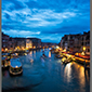 image of view from Rialto Bridge, Venice, Italy, at night