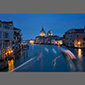 image of view from Accademia Bridge, Venice, Italy, at night