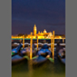 image of gondolas at St. Mark's square at night, Venice, Italy