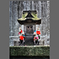 image of temple with dog statues, Tokyo, Japan